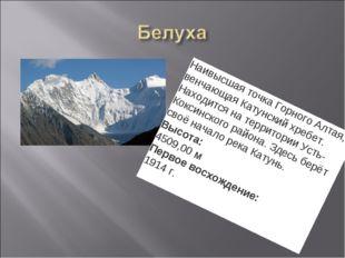 Наивысшая точка Горного Алтая, венчающая Катунский хребет. Находится на терри
