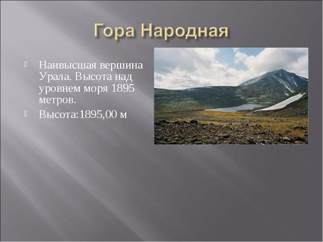 Наивысшая вершина Урала. Высота над уровнем моря 1895 метров. Высота:1895,00 м