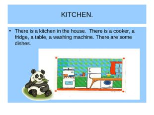 KITCHEN. There is a kitchen in the house. There is a cooker, a fridge, a tabl