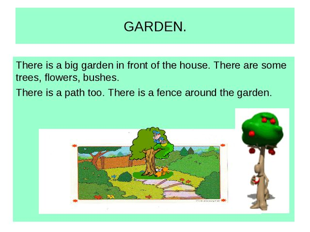 GARDEN. There is a big garden in front of the house. There are some trees, fl...