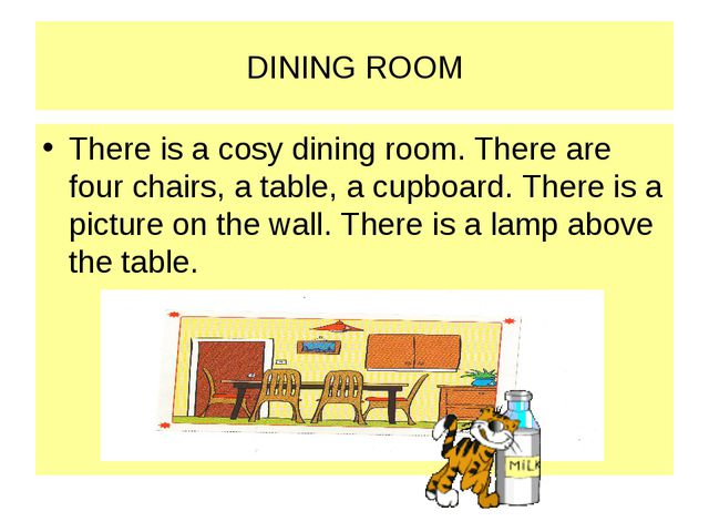 DINING ROOM There is a cosy dining room. There are four chairs, a table, a cu...