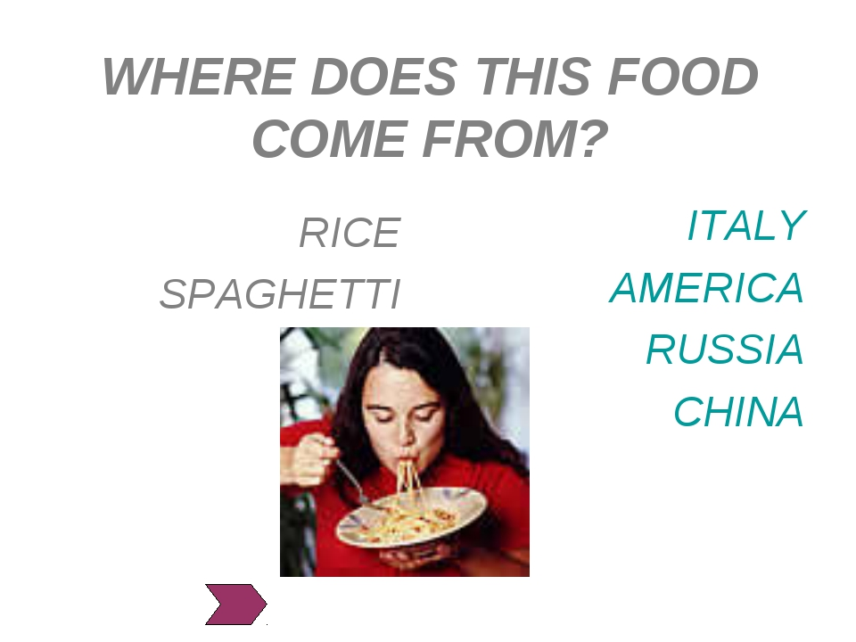 WHERE DOES THIS FOOD COME FROM? ITALY AMERICA RUSSIA CHINA RICE SPAGHETTI