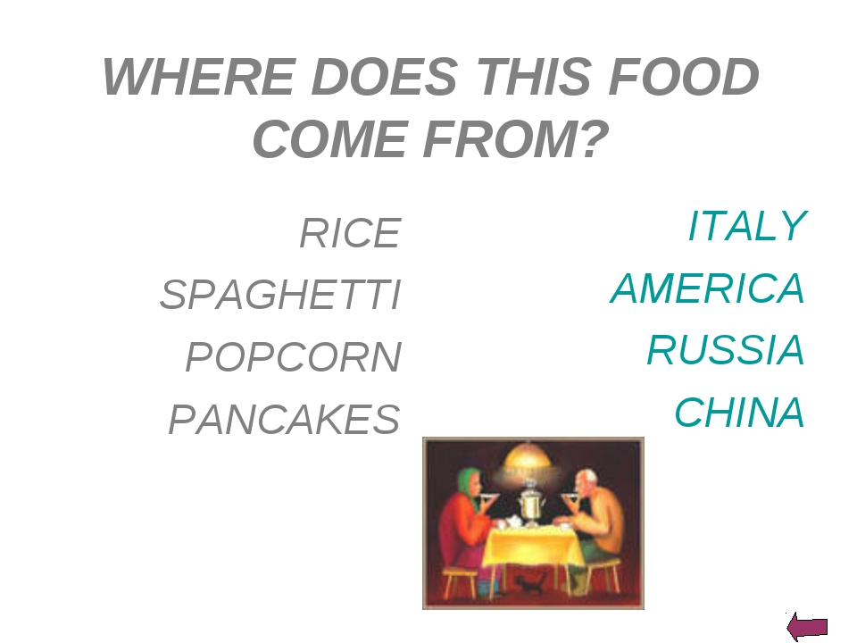 WHERE DOES THIS FOOD COME FROM? ITALY AMERICA RUSSIA CHINA RICE SPAGHETTI POP...