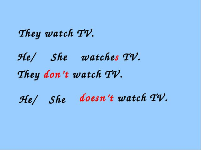 They watch TV. He/ She watches TV. They don't watch TV. doesn't watch TV. He...