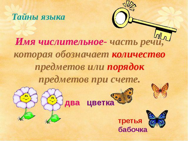 Тайны языка Имя числительное- часть речи, которая обозначает количество предм...