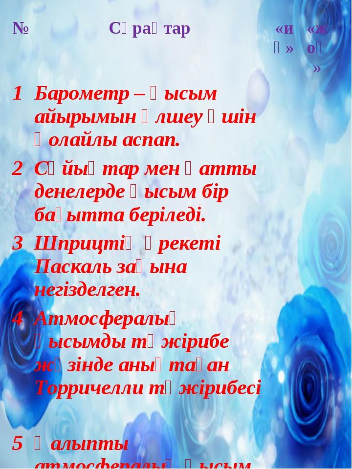 №Сұрақтар«иә»«жоқ» 1Барометр – қысым айырымын өлшеу үшін қолайлы аспап....