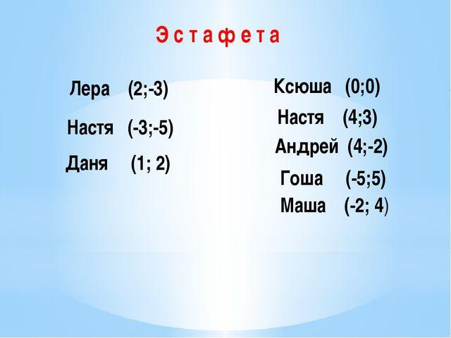 Э с т а ф е т а Лера (2;-3) Настя (-3;-5) Даня (1; 2) Ксюша (0;0) Настя (4;3)...