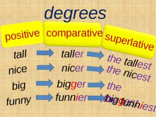 positive degrees tall taller the tallest comparative superlative nice nicer t