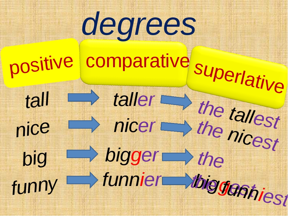 positive degrees tall taller the tallest comparative superlative nice nicer t...