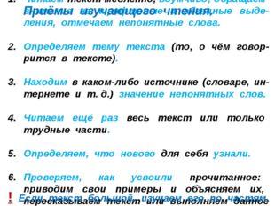 Читаем текст медленно, вдумчиво; обращаем внимание на шрифтовые и абзацные вы