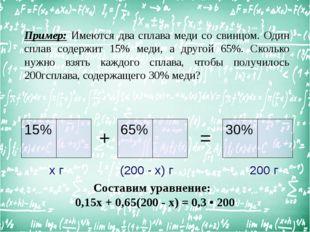 Пример: Имеются два сплава меди со свинцом. Один сплав содержит 15% меди, а