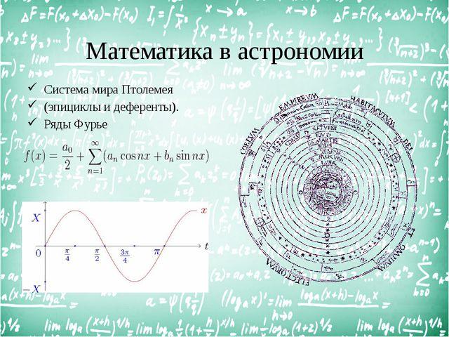 Математика в астрономии Система мира Птолемея (эпициклы и деференты). Ряды Фу...