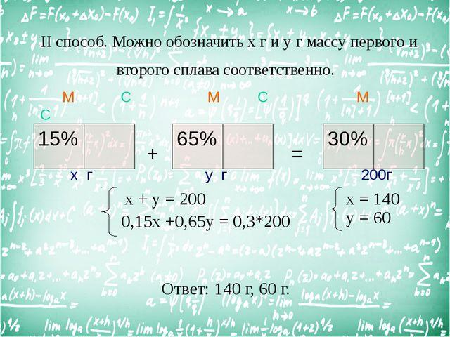 II способ. Можно обозначить х г и у г массу первого и второго сплава соответ...