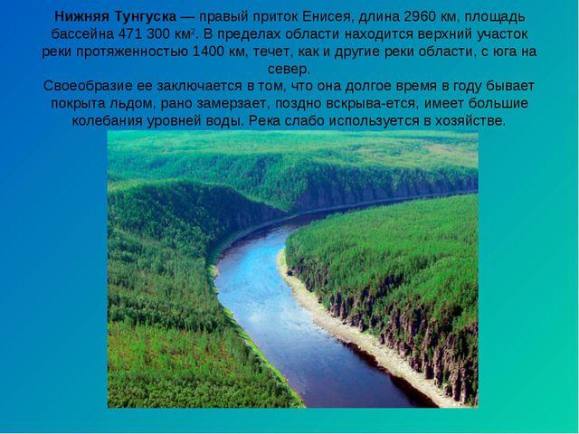 Нижняя Тунгуска— правый приток Енисея, длина 2960 км, площадь бассейна 471 3...