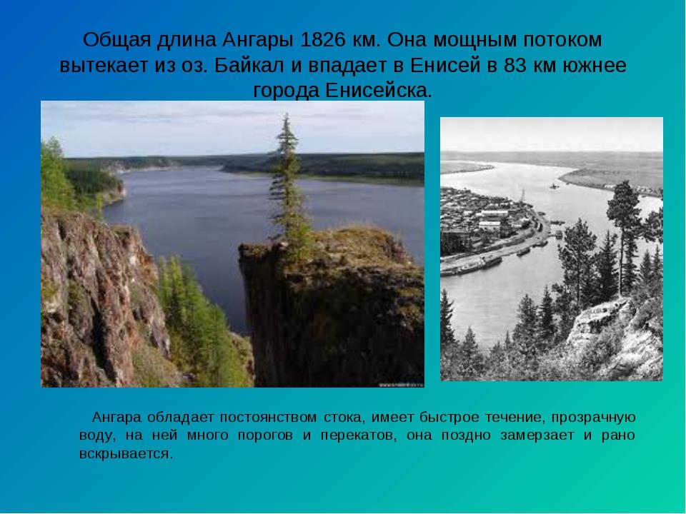 Общая длина Ангары 1826 км. Она мощным потоком вытекает из оз. Байкал и впада...