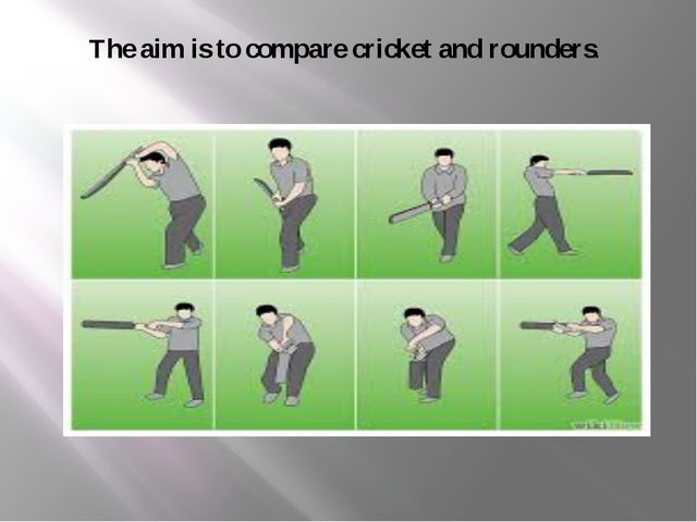 The aim is to compare cricket and rounders.
