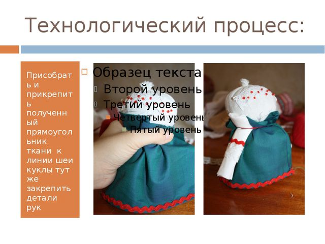 Технологический процесс: Присобрать и прикрепить полученный прямоугольник тка...