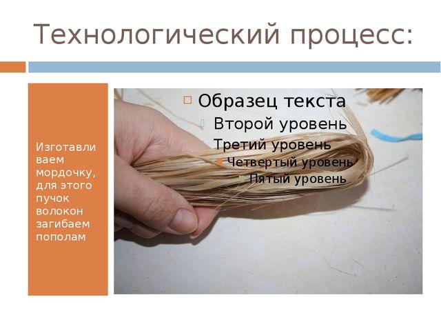 Технологический процесс: Изготавливаем мордочку, для этого пучок волокон заги...
