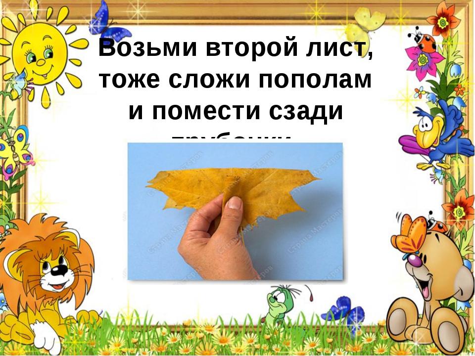 Возьми второй лист, тоже сложи пополам ипомести сзади трубочки.
