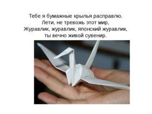 Тебе я бумажные крылья расправлю. Лети, не тревожь этот мир, Журавлик, журавл
