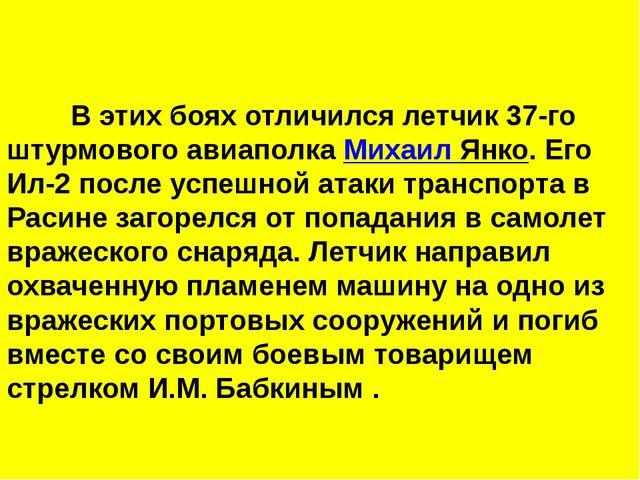 В этих боях отличился летчик 37-го штурмового авиаполка Михаил Янко. Его И...