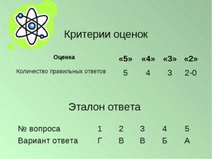 Критерии оценок Эталон ответа Оценка«5»«4»«3»«2» Количество правильных от