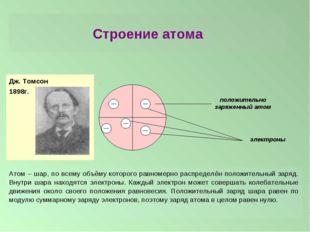 Строение атома Дж. Томсон 1898г. Атом – шар, по всему объёму которого равноме
