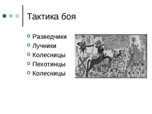 Тактика боя Разведчики Лучники Колесницы Пехотинцы Колесницы