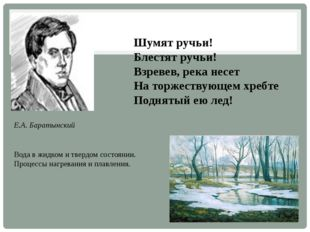 Е.А. Баратынский Шумят ручьи! Блестят ручьи! Взревев, река несет На торжеству