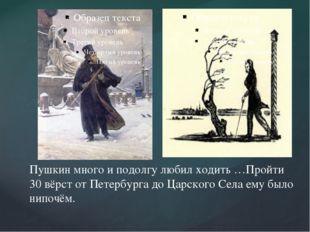 Пушкин много и подолгу любил ходить …Пройти 30 вёрст от Петербурга до Царско