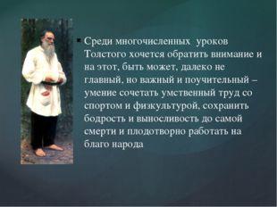 Среди многочисленных уроков Толстого хочется обратить внимание и на этот, быт