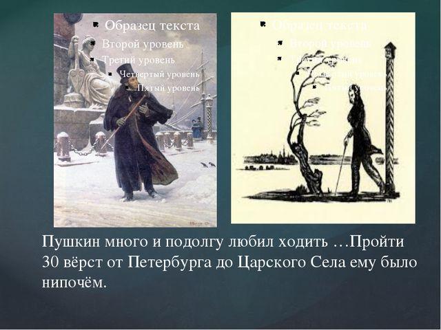 Пушкин много и подолгу любил ходить …Пройти 30 вёрст от Петербурга до Царско...