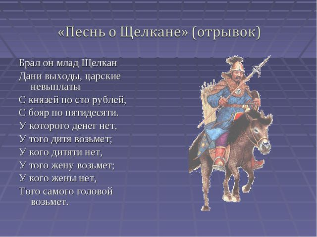 Брал он млад Щелкан Дани выходы, царские невыплаты С князей по сто рублей, С...