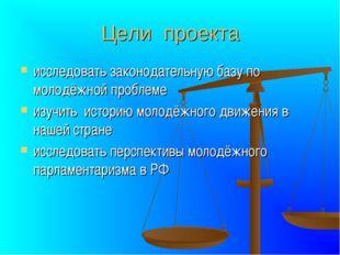 Цели проекта исследовать законодательную базу по молодёжной проблеме изучить