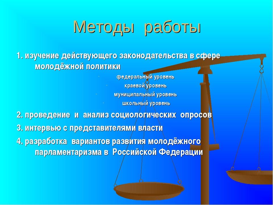 Методы работы 1. изучение действующего законодательства в сфере молодёжной по...