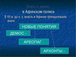 Знать и демос в Афинском полисе В VII в. до н. э. власть в Афинах принадлежал