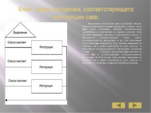 Блок- схема алгоритма, соответствующего инструкции case: Выполняется инструкц