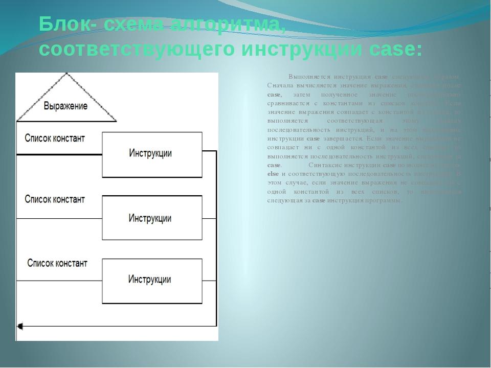 Блок- схема алгоритма, соответствующего инструкции case: Выполняется инструкц...