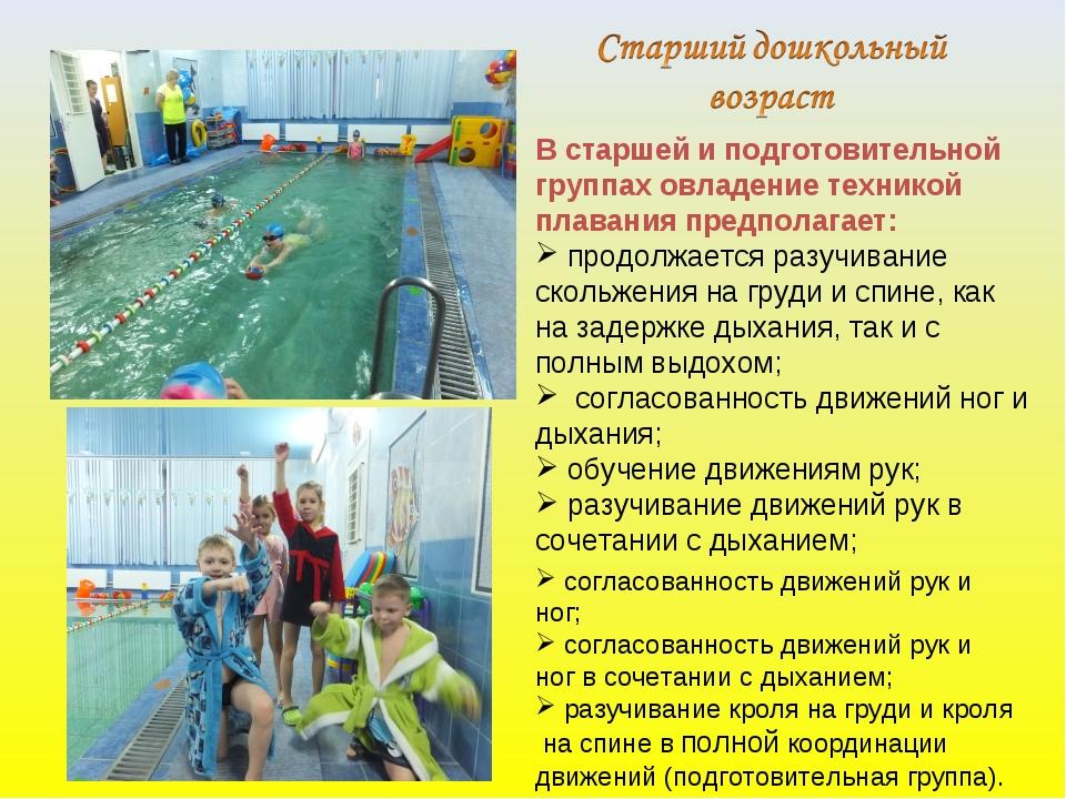 В старшей и подготовительной группах овладение техникой плавания предполагает...