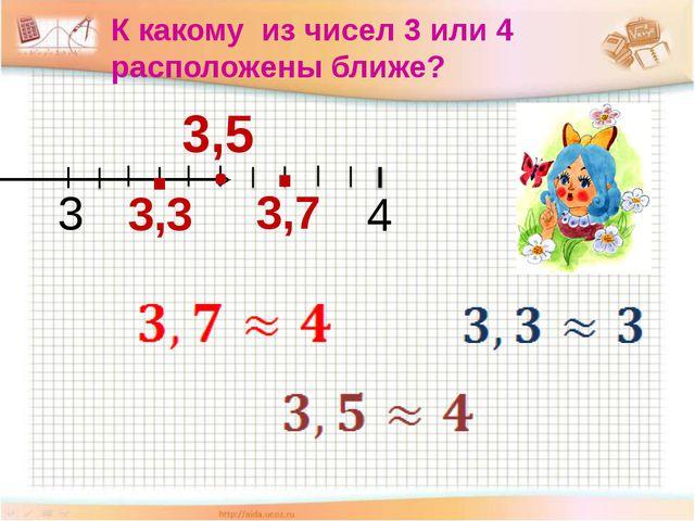 К какому из чисел 3 или 4 расположены ближе? 3 4 3,7 3,3 3,5 . .