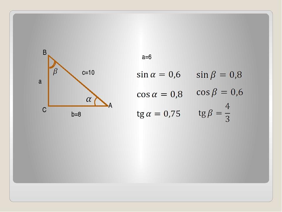 B C A c=10 a b=8 a=6