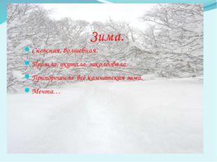 Снежная, волшебная. Пришла, укутала, заколдовала. Припорошила всё камчатская