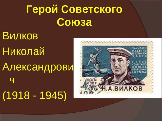 Герой Советского Союза Вилков Николай Александрович (1918 - 1945)