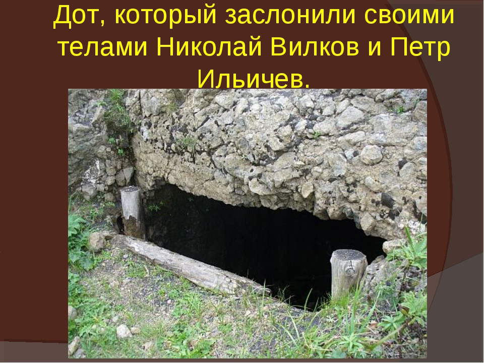Дот, который заслонили своими телами Николай Вилков и Петр Ильичев.