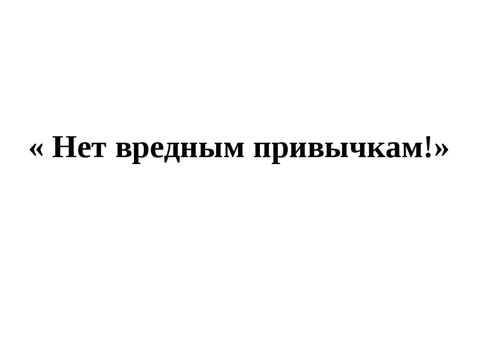« Нет вредным привычкам!»