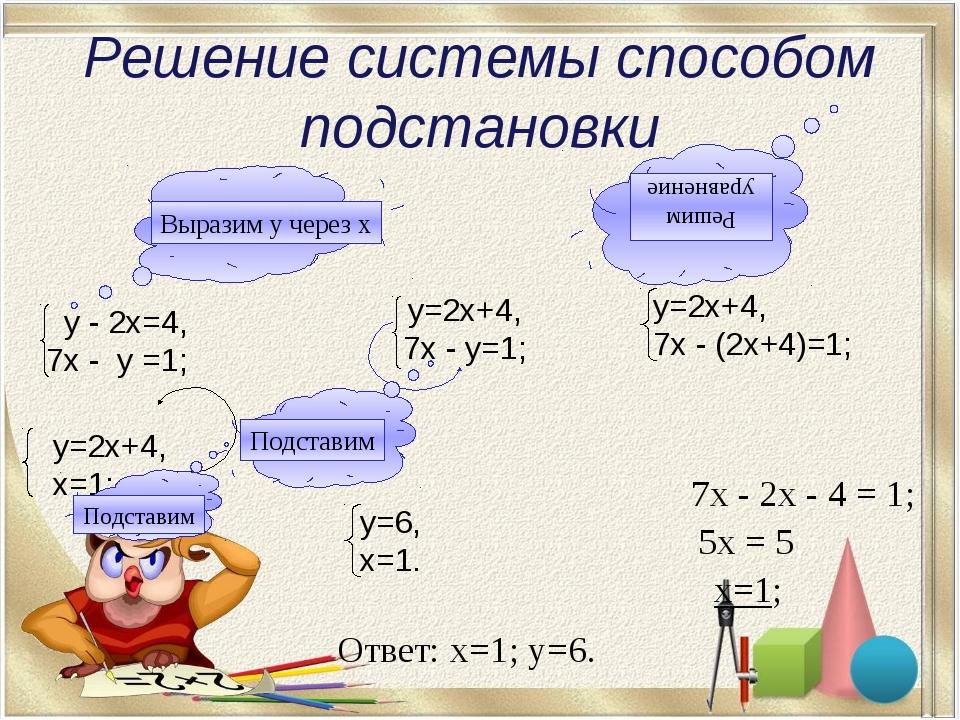 Решите систему уравнений: у-2х=1, 6х-у=7; у=1+2х, 6х-(1+2х)=7; у=1+2х, 4х=8;...