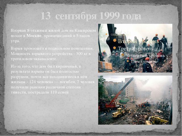 13 сентября 1999 года Взорван 8-этажный жилой дом на Каширском шоссе в Москве...