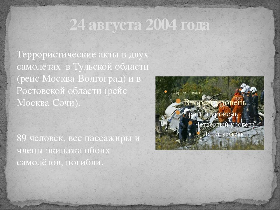 24 августа 2004 года Террористические акты в двух самолётах в Тульской област...