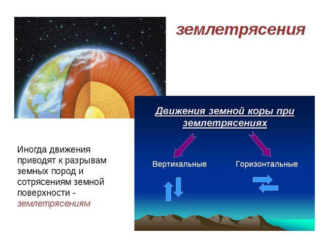 землетрясения Иногда движения приводят к разрывам земных пород и сотрясениям...