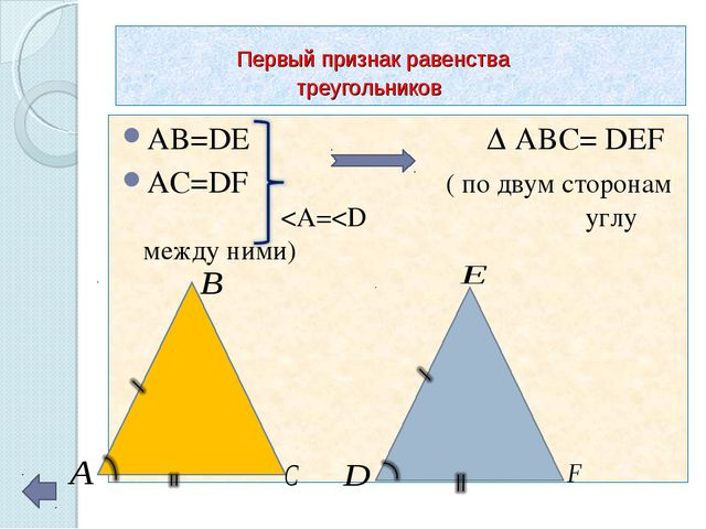 Первый признак равенства треугольников AB=DE Δ ABC= DEF AC=DF ( по двум стор...